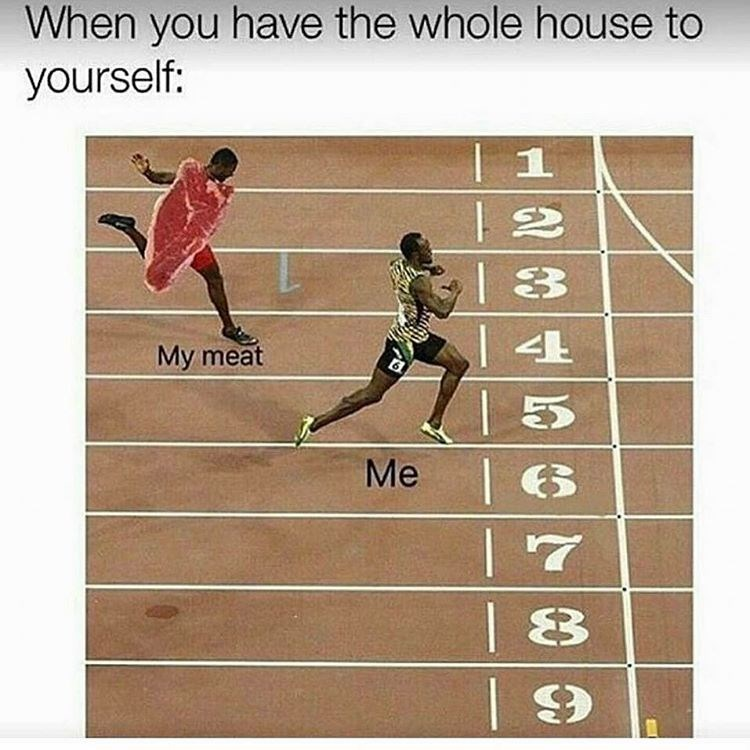 Funny dank meme about beating your meat when you are home alone, with race against meat finish line photo