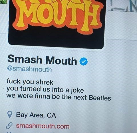 so dank meme of how Smash Mouth is IRL to Shrek for ruining their whole image.