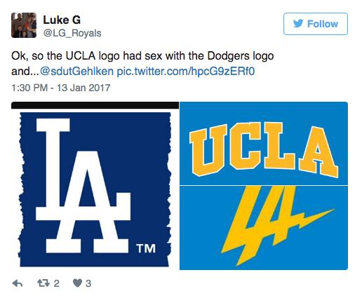 Text - Luke G Follow @LG_Royals Ok, so the UCLA logo had sex with the Dodgers logo and...@sdutGehlken pic.twitter.com/hpcG9zERf0 1:30 PM -13 Jan 2017 UCLA TM 2