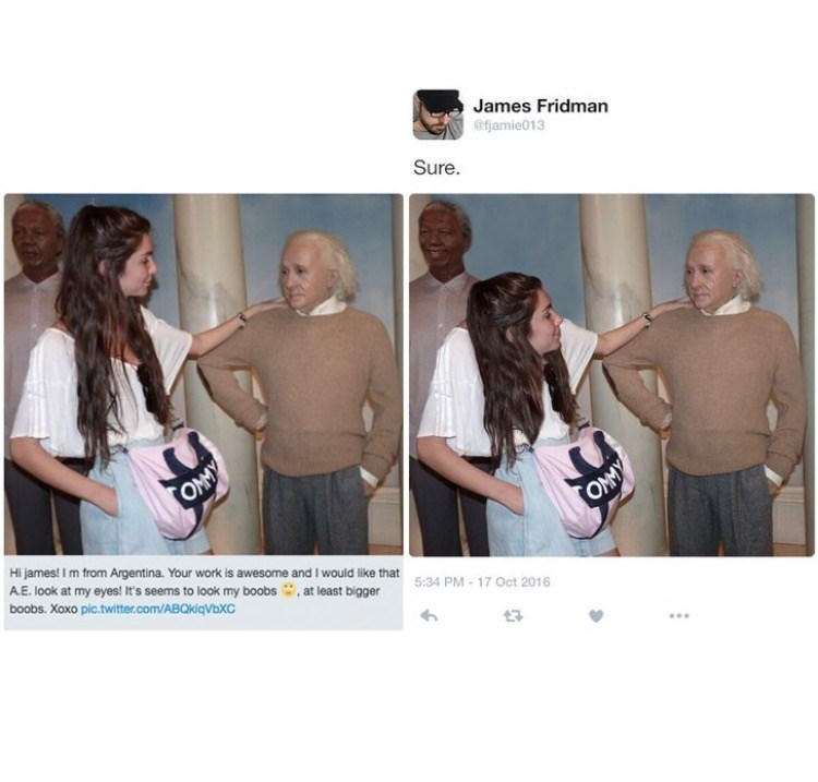 photoshop trolling - Product - James Fridman @fjamie013 Sure OMMY Hi james! I m from Argentina. Your work is awesome and I would like that 5:34 PM-17 Oct 2016 A.E. look at my eyes! It's seems to look my boobs, at least bigger boobs. Xoxo pic.twitter.com/ABQkiqVbXC OMMY