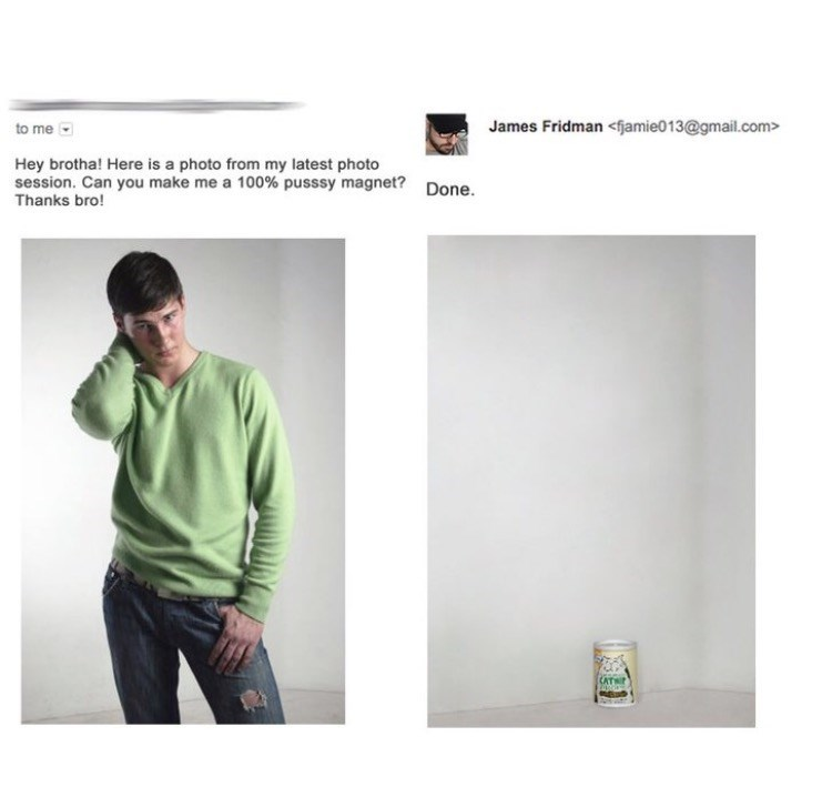 photoshop trolling - Green - James Fridman <fjamie013@gmail.com> to me Hey brotha! Here is a photo from my latest photo session. Can you make me a 100% pusssy magnet? Done. Thanks bro!