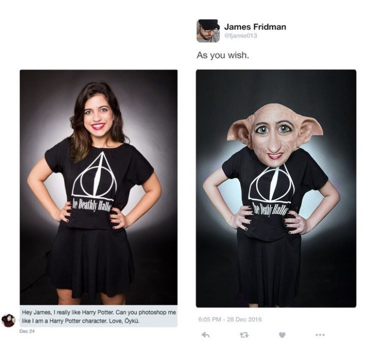photoshop trolling - Black - James Fridman @fjamie013 As you wish. be Deathly Malle Hey James, I really like Harry Potter. Can you photoshop me 6:05 PM-28 Dec 2016 like I am a Harry Potter character. Love, Oyku. Dec 24