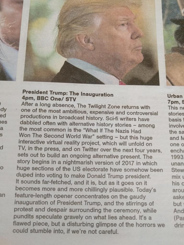 tv listing turns trump inauguration into twilight zone episode