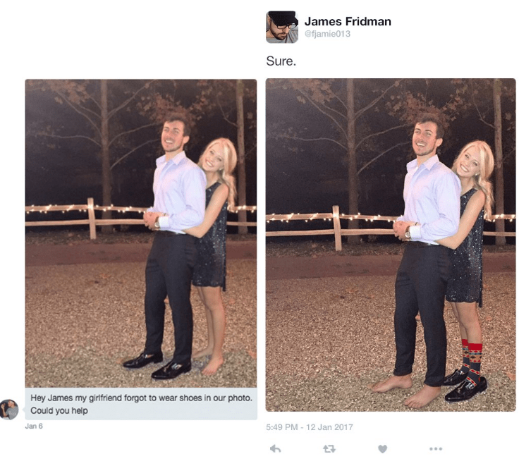 photoshop trolling - Photograph - James Fridman @fjamie013 Sure. Hey James my girtfriend forgot to wear shoes in our photo. Could you help 5:49 PM 12 Jan 2017 Jan 6