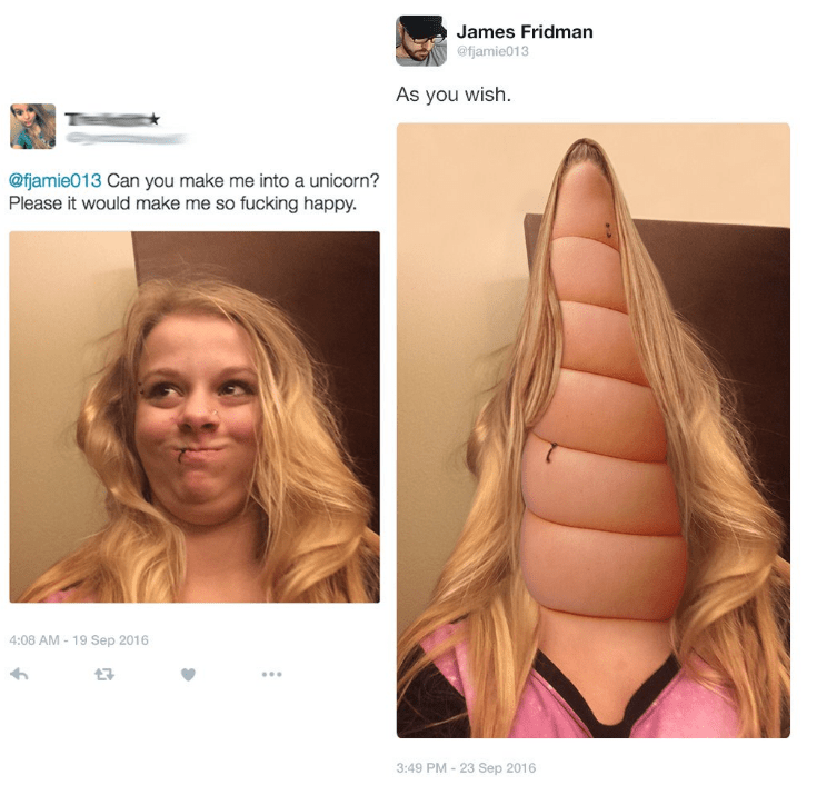 photoshop trolling - Face - James Fridman @fjamie013 As you wish. @fjamie013 Can you make me into a unicorn? Please it would make me so fucking happy. 4:08 AM 19 Sep 2016 3:49 PM - 23 Sep 2016