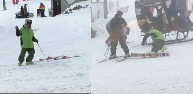 drunk dude can't get skis on