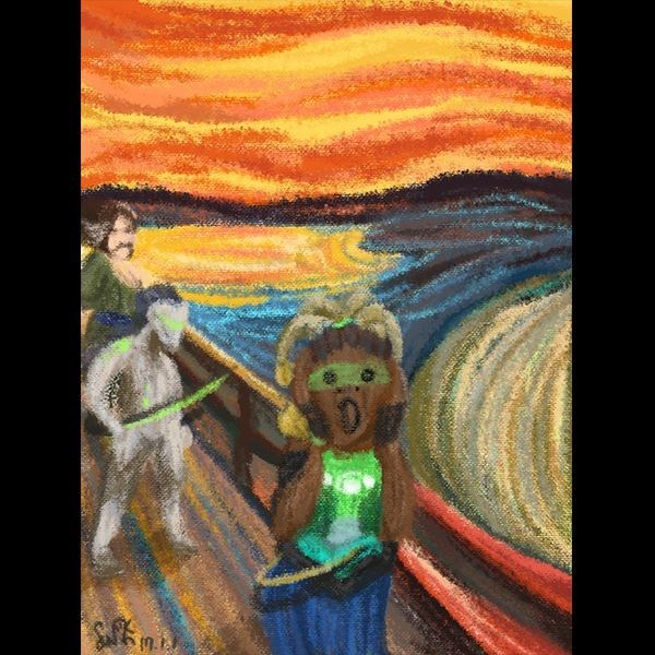 munch's the scream painting replaced with overwatch characters