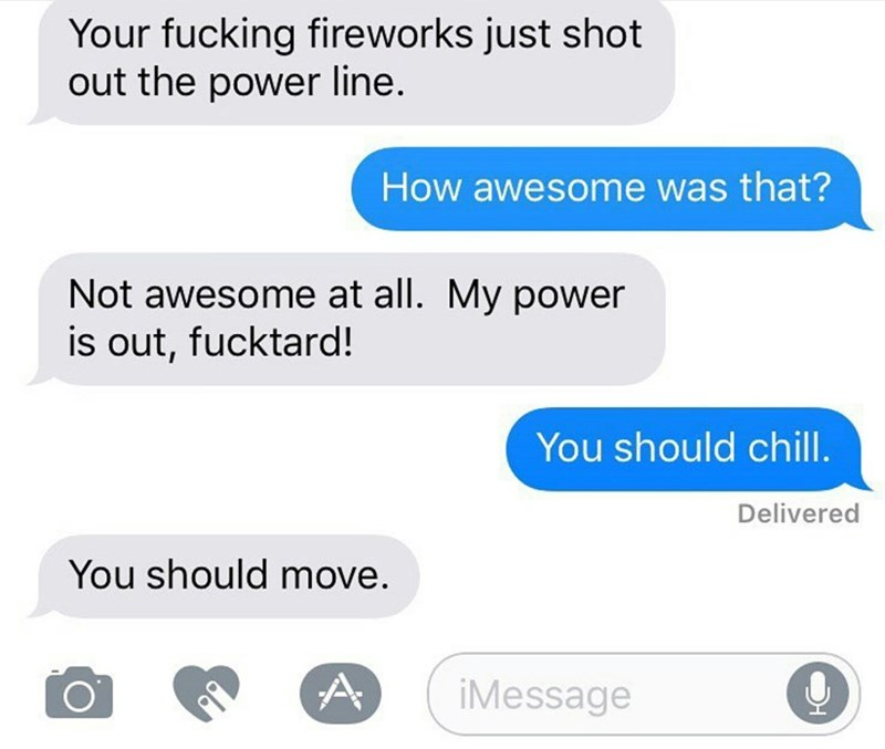 neighbor text message upset their electricity went out