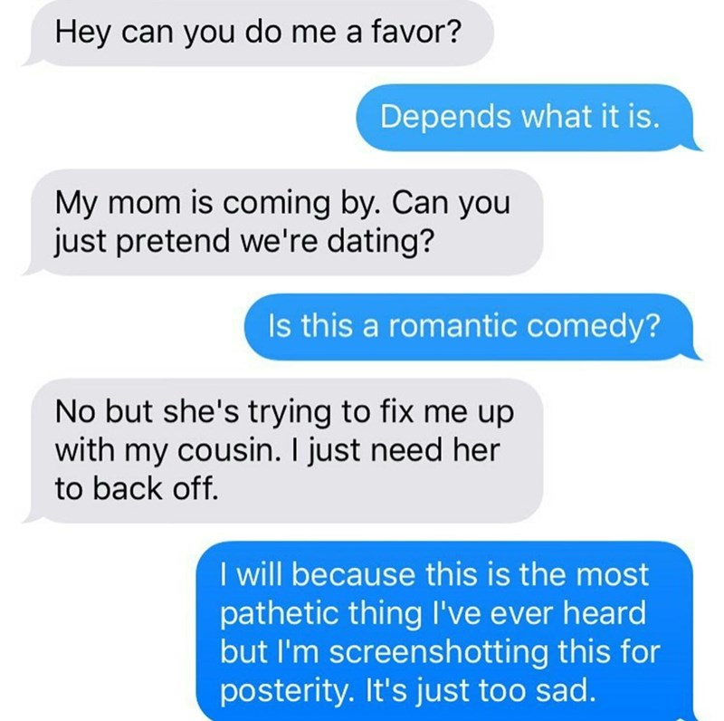 neighbor text message asking them to pretend they're dating
