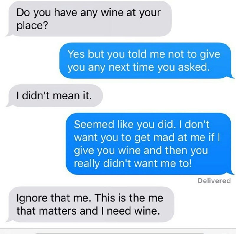 neighbor text message asking them for wine