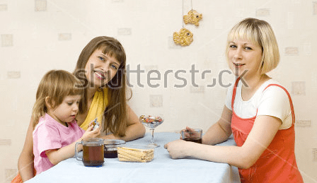 family sitting around a table