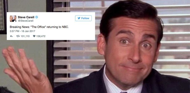 steve carell trolls twitter with office comeback