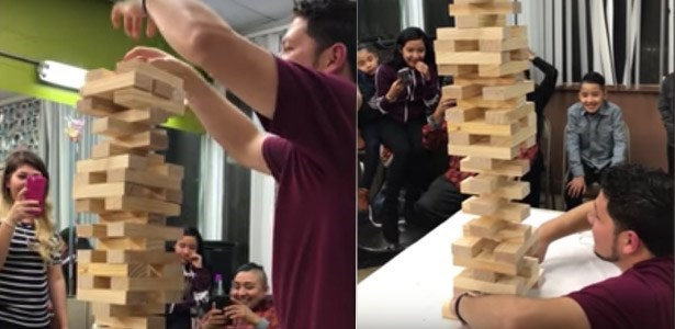 win video man pulls off incredible jenga move