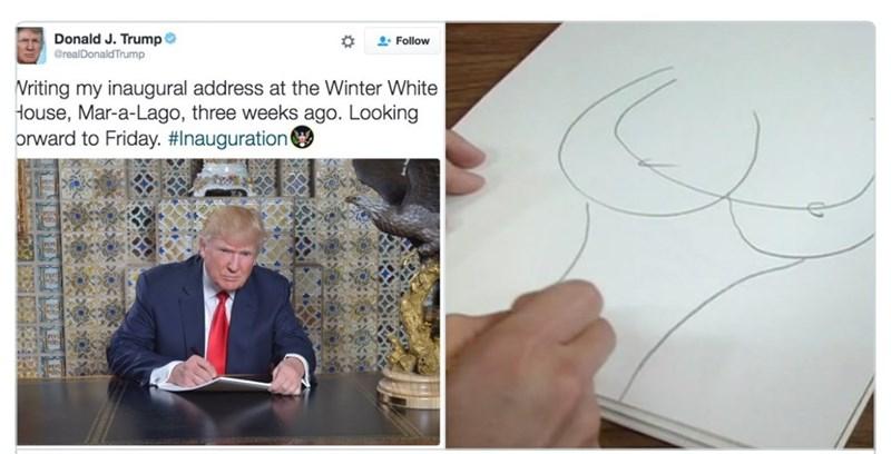 Text - Donald J. Trump @realDonaldTrump Follow Writing my inaugural address at the Winter White House, Mar-a-Lago, three weeks ago. Looking orward to Friday. #Inauguration
