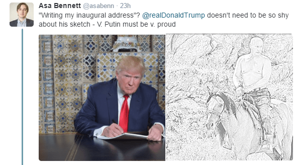 "Text - Asa Bennett @asabenn 23h ""Writing my inaugural address""? @realDonaldTrump doesn't need to be so shy about his sketch - V. Putin must be v. proud"