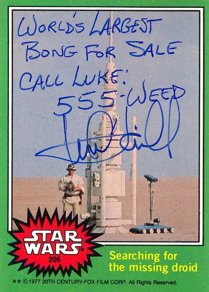 Text - WORLDS LARGEST BONG FOR SALE CALL LUKE 555-WsD STAR WARS Searching for the missing droid 206 * 1977 20TH CENTURY-FOX FILM CORP. All Rights Reserved.