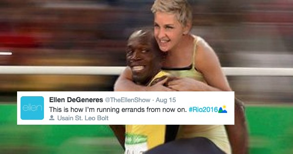 Ellen DeGeneres photoshopped into riding Usain Bolt's back