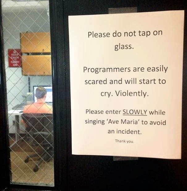 work meme - Text - Please do not tap on glass. Programmers are easily scared and will start to cry. Violently. Please enter SLOWLY while singing 'Ave Maria' to avoid an incident. Thank you