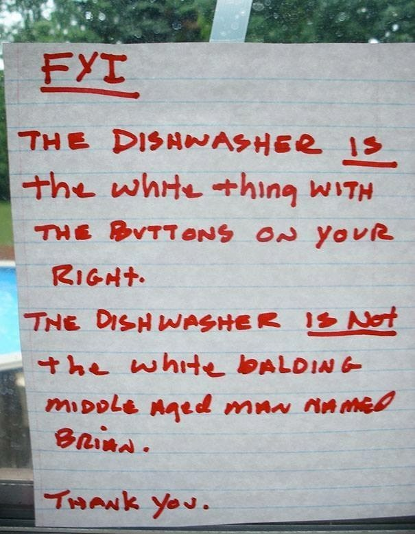 work meme - Text - FYI THE DISHAASHER 1S the whtething WITH THE BVTTONS ON YovR RIGHT THE DISHWASHER 1 Not he whte BALDIN mpole naed maw nnme0 THANK Yeu.