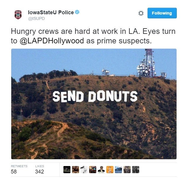 Text - lowaStateU Police Following @ISUPD Hungry crews are hard at work in LA. Eyes turn to @LAPDHollywood as prime suspects SEND DONUTS RETWEETS LIKES 58 342