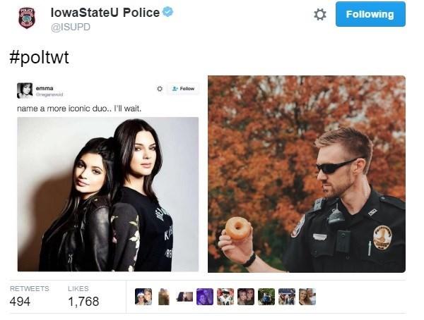 Text - lowaStateU Police Following @ISUPD #poltwt emma Fallow Gregold name a more iconic duo... I'll wait. KA RETWEETS LIKES 494 1,768