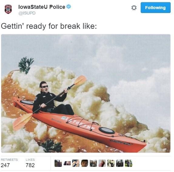 Technology - lowaStateU Police Following @ISUPD Gettin' ready for break like: RETWEETS LIKES 247 782