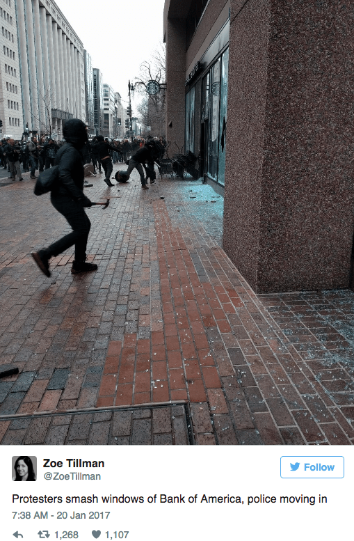 Text - Zoe Tillman Follow @ZoeTillman Protesters smash windows of Bank of America, police moving in 7:38 AM-20 Jan 2017 t 1,268 1,107