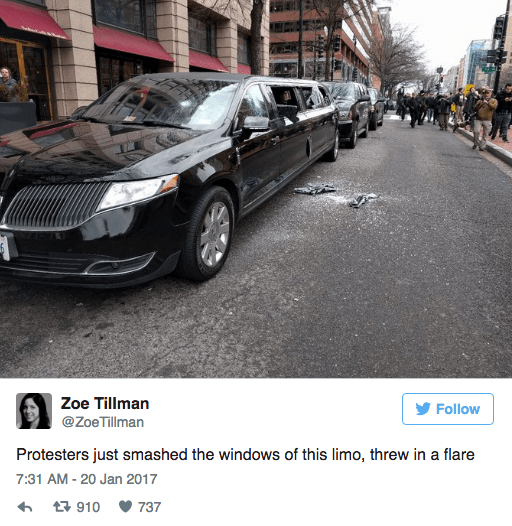 Luxury vehicle - Zoe Tillman Follow @ZoeTillman Protesters just smashed the windows of this limo, threw in a flare 7:31 AM-20 Jan 2017 t910 737