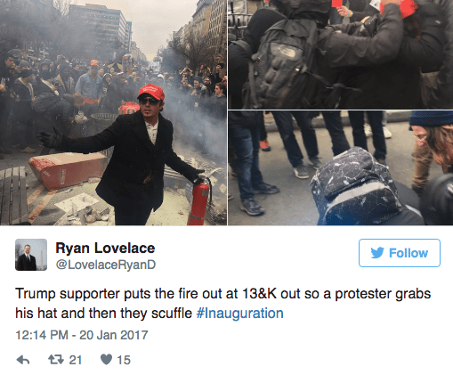 Font - Ryan Lovelace @LovelaceRyanD Follow Trump supporter puts the fire out at 13&K out so a protester grabs his hat and then they scuffle #Inauguration 12:14 PM - 20 Jan 2017 21 15