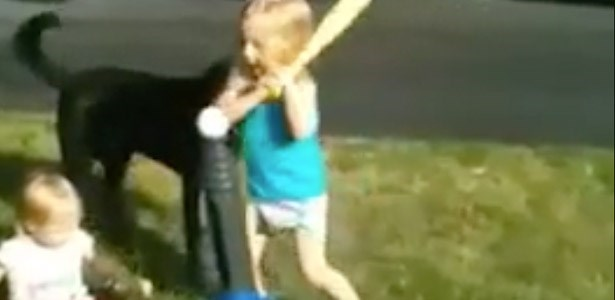 fail gif girl hits sister with bat