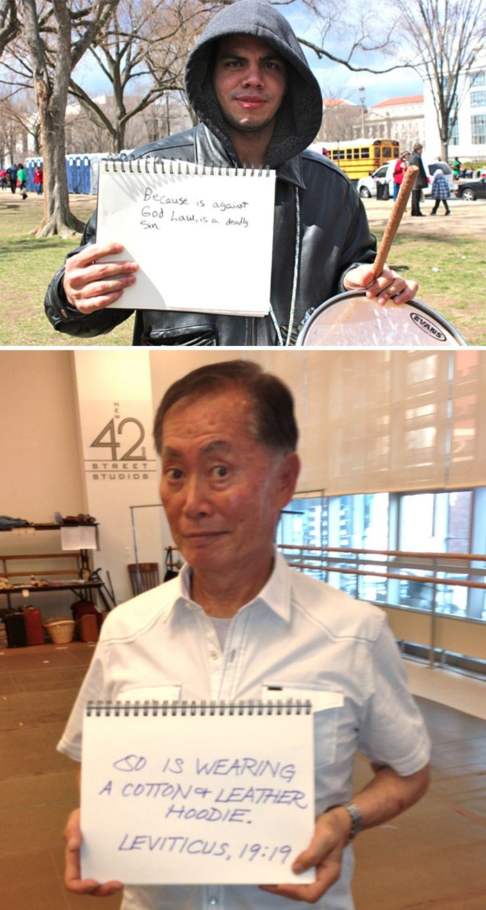 george takei - Forehead - Because is agaist God Lau,is a deadly Sn. EVANS 42 STREET STUDIOS SD IS WEARING A COTTON&LEATHER HOODIE LEVITICUS, 19:19