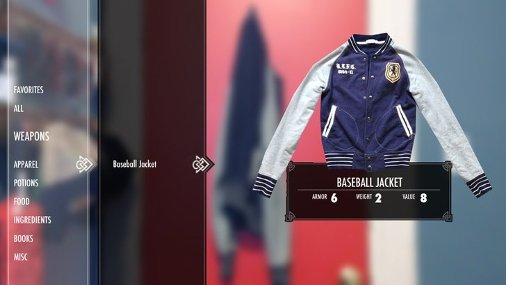 Jacket - 4- FAVORITES ALL WEAPONS Baseball Jacket APPAREL BASEBALL JACKET POTIONS VALUE 8 WEIGHT 2 ARMOR 6 FOOD INGREDIENTS BOOKS MISC