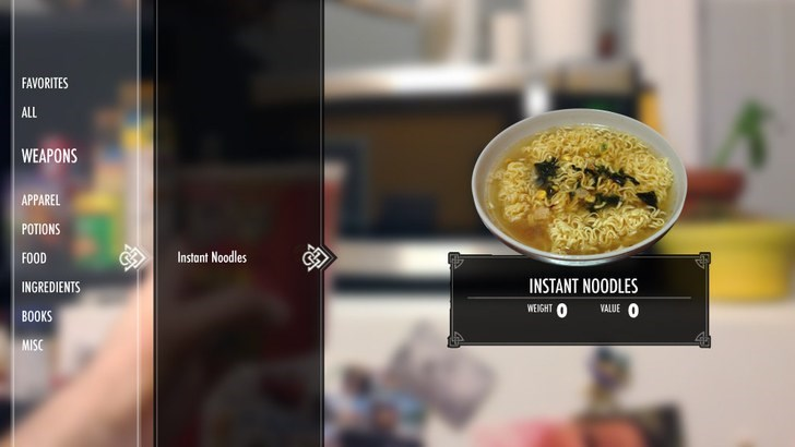 Dish - FAVORITES ALL WEAPONS APPAREL POTIONS Instant Noodles FOOD INSTANT NOODLES INGREDIENTS 0 WEIGHT VALUE BOOKS MISC