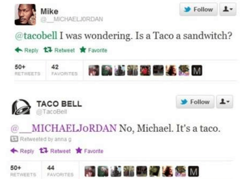 Text - Follow Mike e MICHAELJORDAN @tacobell I was wondering. Is a Taco a sandwitch? Reply 13 RetweetFavorte 42 RETWEETS FAVORITES 50+ Follow TACO BELL TacoBell MICHAELJORDAN No, Michael. It's a taco. Retweeted by anna g Reply 13 RetweetFavorte 50+ 44 M FAVORITES RETWEETS