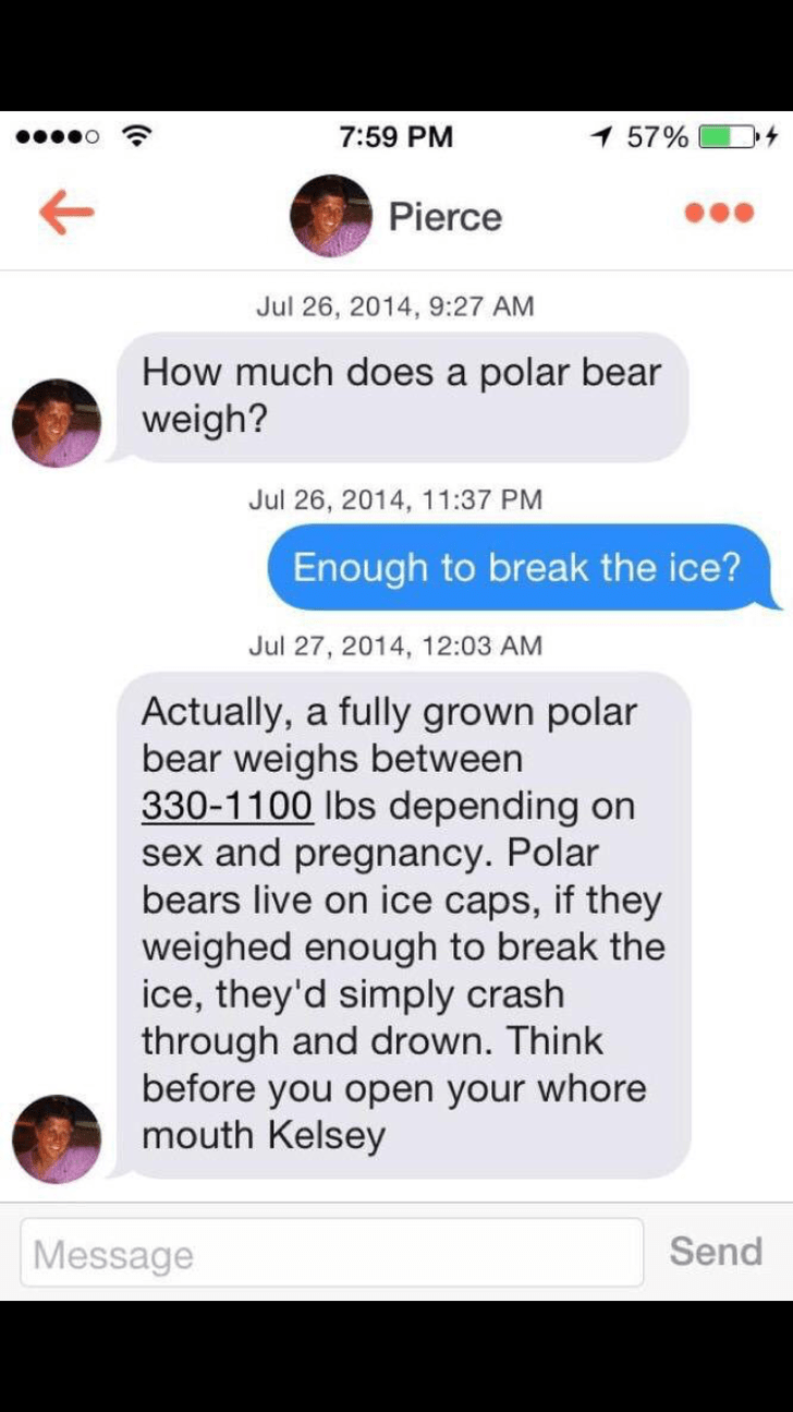tinder conversation How much does a polar bear weigh? Jul 26, 2014, 11:37 PM Enough to break the ice? Jul 27, 2014, 12:03 AM Actually, a fully grown polar bear weighs between 330-1100 lbs depending on sex and pregnancy. Polar bears live on ice caps, if they weighed enough to break the ice, they'd simply crash through and drown. Think before you open your whore mouth Kelsey Send Message