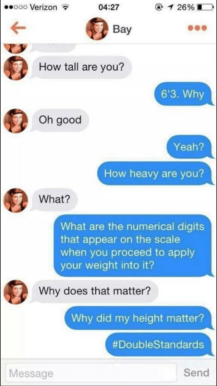 tinder conversation about height and weight