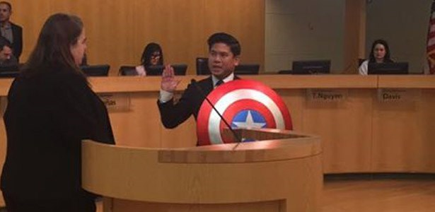 councilman wears captain america shield