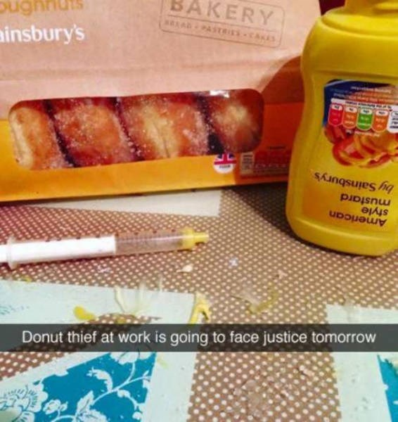 Food - Donut thief at work is going to face justice tomorrow ainsbury's American style mustard by Sainsbury's sAPASTEISCAES BAKERY