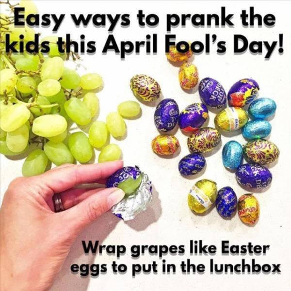 Fashion accessory - Easy ways to prank the kids this April Fool's Day! Wrap grapes like Easter eggs to put in the lunchbox DEC