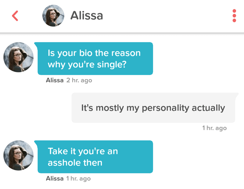 tinder pun - Text - Alissa Is your bio the reason why you're single? Alissa 2 hr. ago It's mostly my personality actually 1 hr. ago Take it you're an asshole then Alissa 1 hr. ago