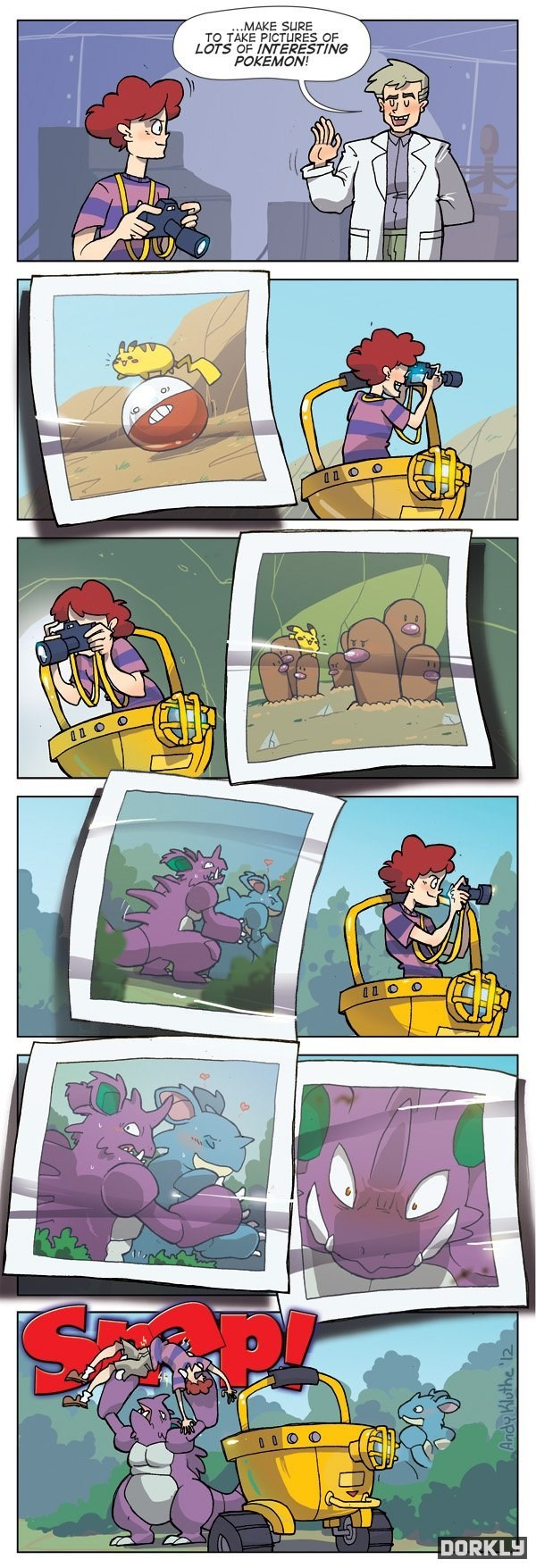 Comics - MAKE SURE TO TAKE PICTURES OF LOTS OF INTERESTING POKEMON! 0 0 O DORKLY Andy Kluthe '12