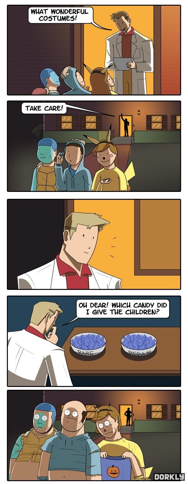 Cartoon - WHAT WONDERFUL COSTUMES! TAKE CARE! OH DEAR! WHICH CANDY DID I GIVE THE CHILDREN? RARE REGULAR DORKLY