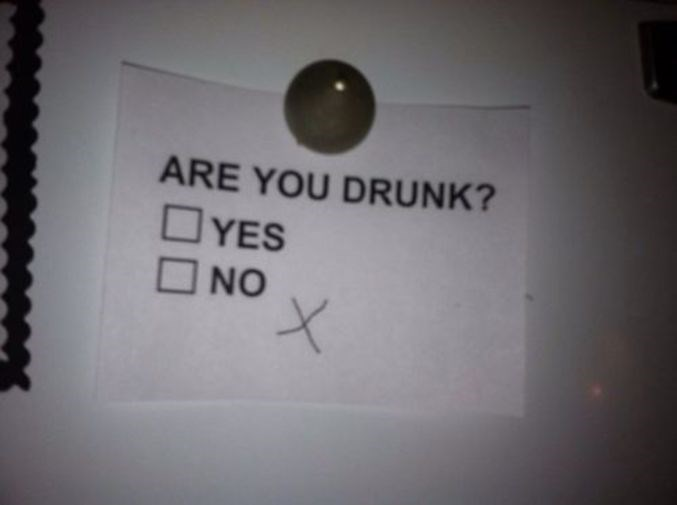 Thirsty Thursday meme with a checkbox marked by a drunk person
