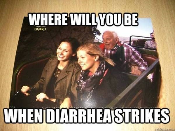Photo caption - WHERE WILLYOUBE WHENDIARRHEASTRIKES