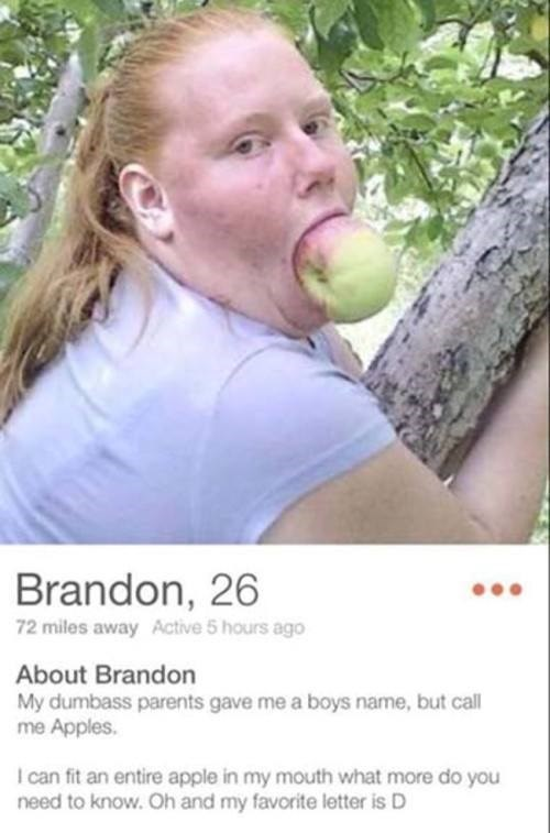 Nose - Brandon, 26 72 miles away Active 5 hours ago About Brandon My dumbass parents gave me a boys name, but call me Apples. I can fit an entire apple in my mouth what more do you need to know.Oh and my favorite letter is D