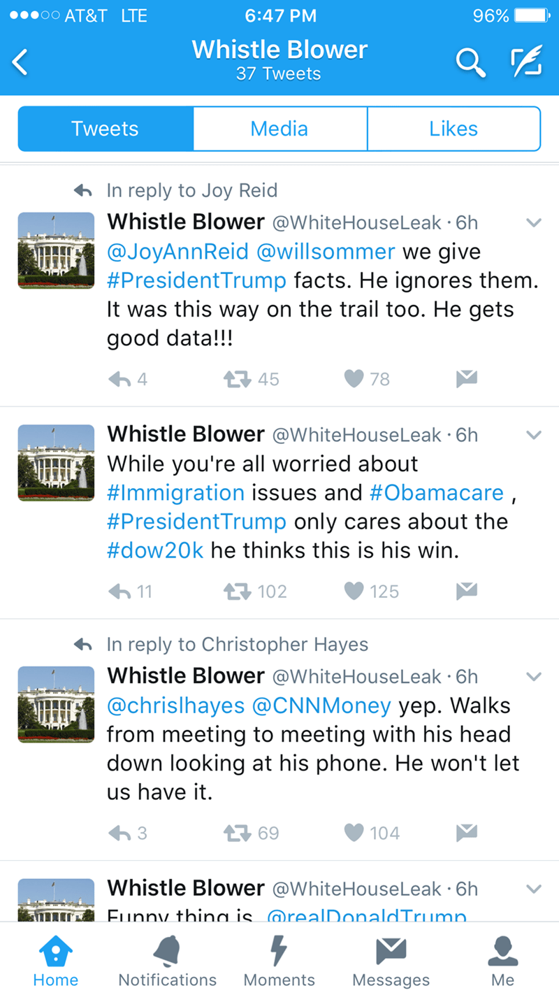Text - AT&T LTE 6:47 PM 96% Whistle Blower 37 Tweets Media Likes Tweets In reply to Joy Reid Whistle Blower @WhiteHouseLeak 6h @JoyAnnReid @willsommer we give #President Trump facts. He ignores them. It was this way on the trail too. He gets good data!!! 45 4 78 Whistle Blower @WhiteHouseLeak 6h While you're all worried about #Immigration issues and #Obamacare, #PresidentTrump only cares about the #dow20k he thinks this is his win 11 125 102 In reply to Christopher Hayes Whistle Blower @WhiteHou