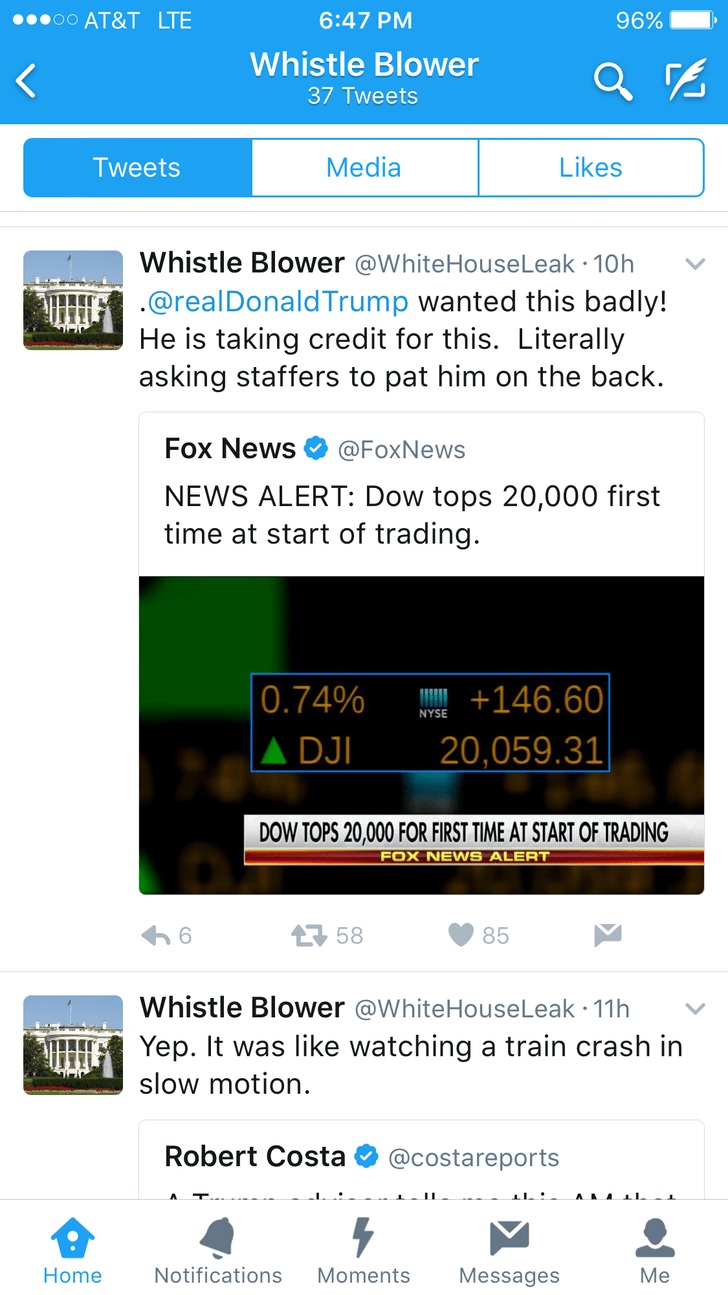 Text - oo AT&T LTE 96% 6:47 PM Whistle Blower 37 Tweets Likes Tweets Media Whistle Blower @WhiteHouseLeak 10h .@realDonaldTrump wanted this badly! He is taking credit for this. Literally asking staffers to pat him on the back. Fox News @FoxNews NEWS ALERT: Dow tops 20,000 first time at start of trading  0.74% A DJI +146.60 NYSE 20,059.31 DOW TOPS 20,000 FOR FIRST TIME AT START OF TRADING FOX NEWS ALERT 58 6 85 Whistle Blower @WhiteHouseLeak 11h Yep. It was like watching a train crash in slow mot
