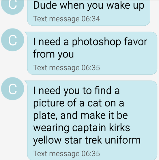 Text - Dude when you wake up Text message 06:34 I need a photoshop favor from you Text message 06:35 C I need you to find picture of a cat on a plate, and make it be wearing captain kirks yellow star trek uniform Text message 06:35