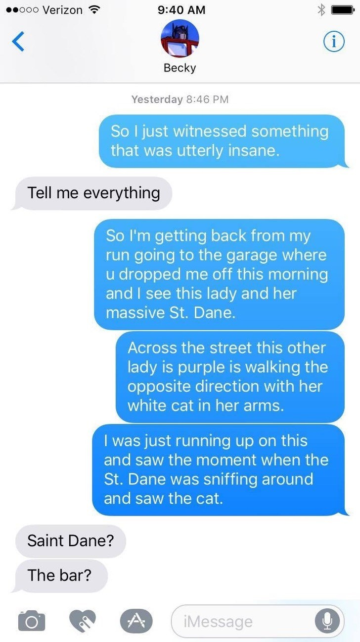 Text - .ooo Verizon 9:40 AM Becky Yesterday 8:46 PM So I just witnessed something that was utterly insane. Tell me everyth ing So I'm getting back from my run going to the garage where u dropped me off this morning and I see this lady and her massive St. Dane. Across the street this other lady is purple is walking the opposite direction with her white cat in her arms. I was just running up on this and saw the moment when the St.Dane was sniffing around and saw the cat. Saint Dane? The bar? A iMe