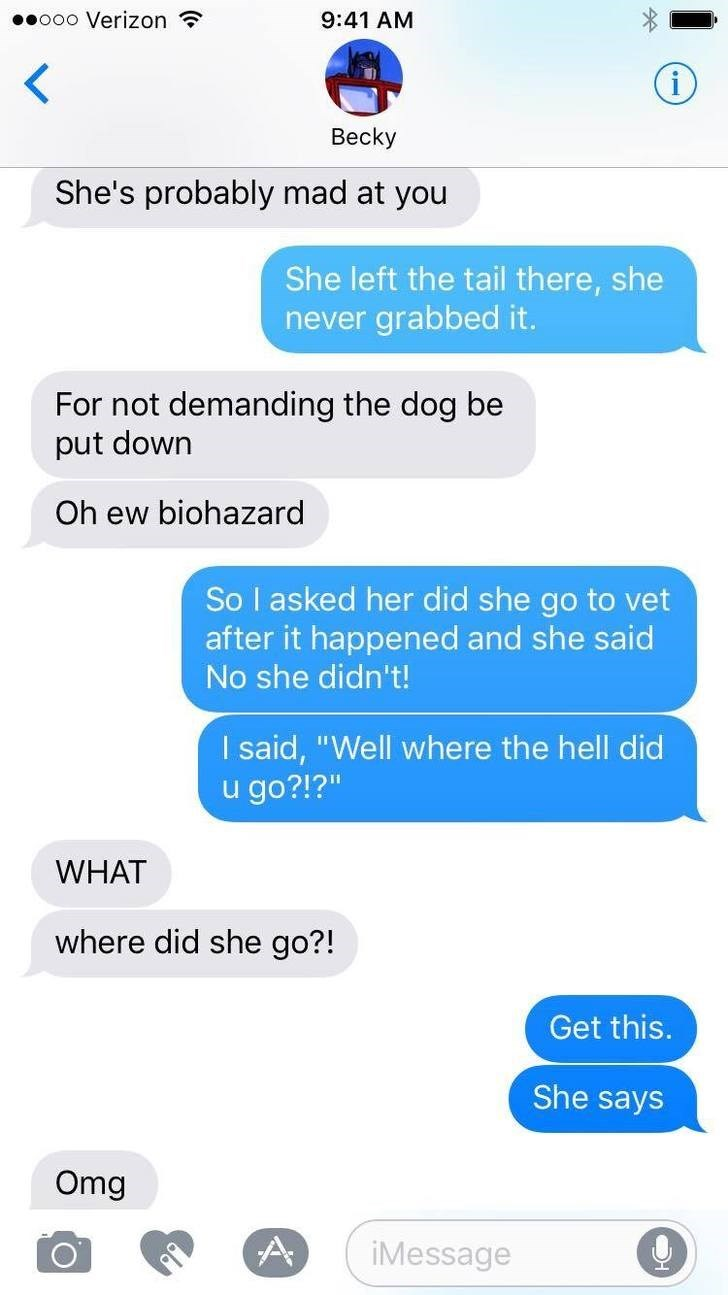 """Text - ooo Verizon 9:41 AM < Вecky She's probably mad at you She left the tail there, she never grabbed it. For not demanding the dog be put down Oh ew biohazard So I asked her did she go to vet after it happened and she said No she didn't! I said, """"Well where the hell did u go?!?"""" WHAT where did she go?! Get this. She says Omg A iMessage"""